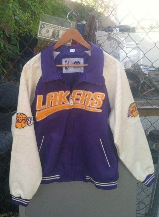 Lakers Los Angeles Nba Basketball Vintage All Leather Embroidered Jacket