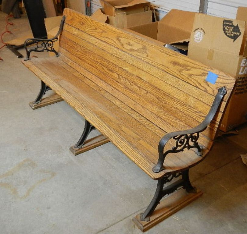 Terrific Wooden Bench With Cast Iron Legs Approx 6Ft Long Pabps2019 Chair Design Images Pabps2019Com