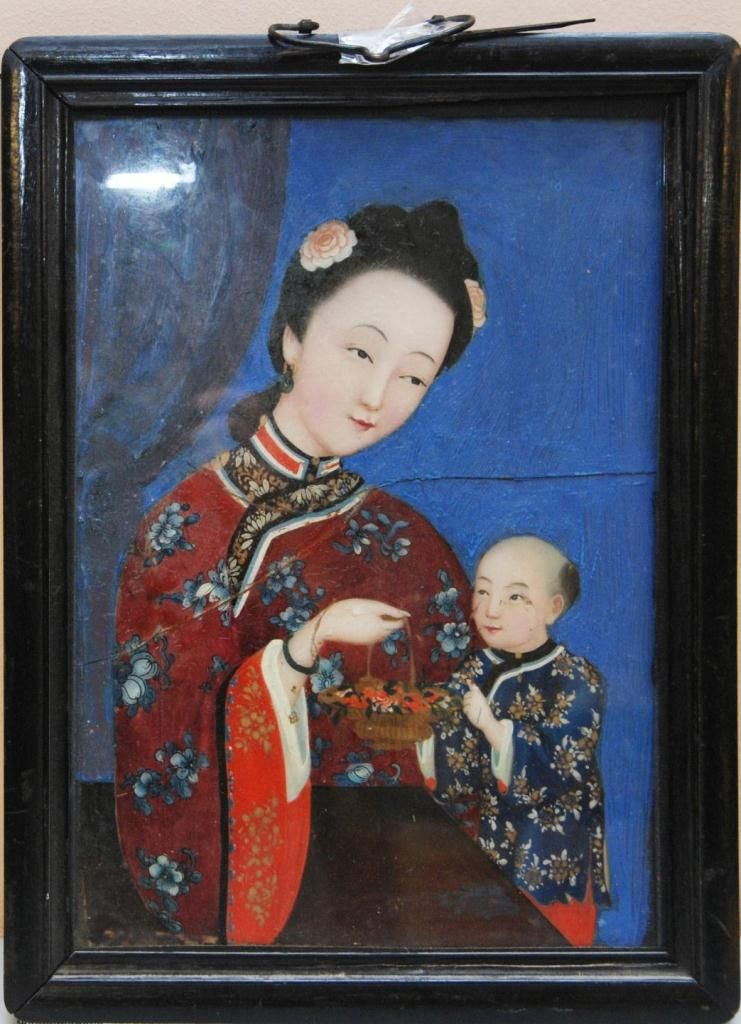 Chinese Reverse Glass Painting Of Mother Amp Child
