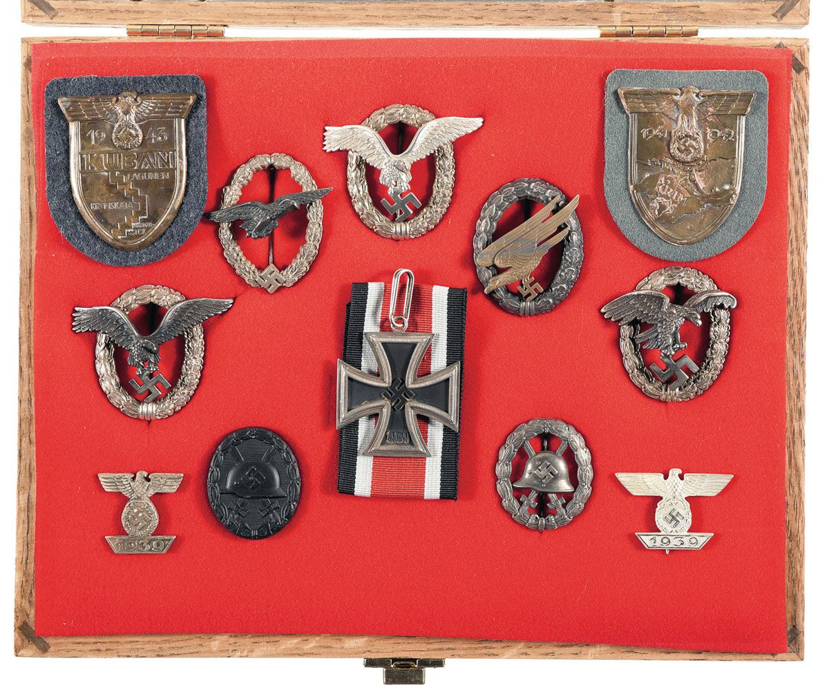 Cased Display of Nazi Badges and Medals