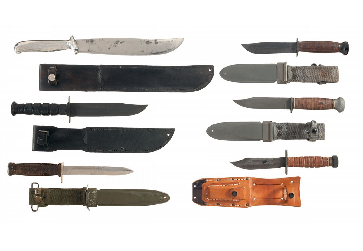 Six U S  Military Style Fighting Knives