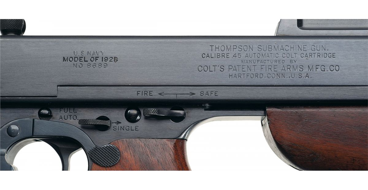 Exceptional Original Colt Model 1921/1928 U S  Navy Over Stamp Thompson  Submachine Gun with Extra Ma