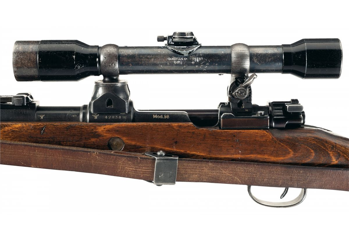 World War II Nazi Mauser K98 Turret Sniper Rifle with Sling and