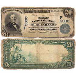 $20 1902 PB The First National Bank. Charter # 5380. About Good., CA - Berkeley,