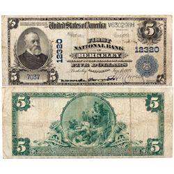 $5 1902 PB First National Bank. Charter #12320. Very Good., CA - Berkeley,
