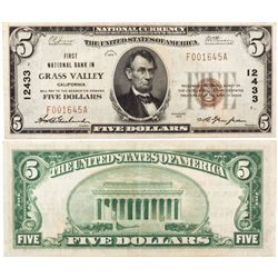 $5 1929 First National Bank. Charter #12433. Very Fine., CA - Grass Valley,