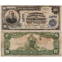 $10 1902 PB. The California National Bank. Charter #11873. Very Good to Fine., CA - Long Beach,