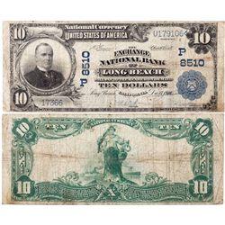 $10 1902 PB The Exchange National Bank. Charter #8510. Fine., CA - Long Beach,