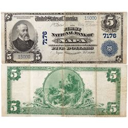 $5 1902 PB The First National Bank. Charter #7176. Fine/Very Fine., CA - Napa,