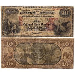 $10 1875. The First National Gold Bank. Charter #2193. Very good, restored., CA - Petaluma,