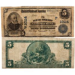 $5 1902 PB. The Red Bluff National Bank. Charter #10114. Very  Good., CA - Red Bluff,