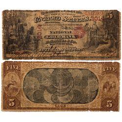 $5 1872 The National Gold Bank. Charter #2014. Good/Very Good., CA - Sacramento,
