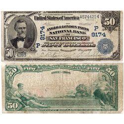 $50 1902 DB The Anglo & London Paris National Bank. Charter #9174. Fine., CA - San Francisco,