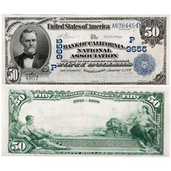 $50 1902 The Bank of California. Charter #9655. Very Fine., CA - San Francisco,