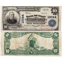 $10 1902 PB Bank of Italy. Charter # 13044. Very Fine., CA - San Francisco,