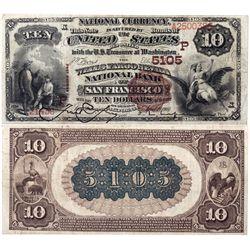 $10 1882 BB The Wells Fargo National Bank. Charter # 5105. PMG25  Very Fine, CA - San Francisco,