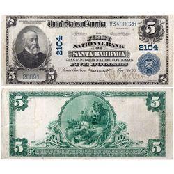 $5 1902 PB First National Bank. Charter # 2104. Very Fine., CA - Santa Barbara,