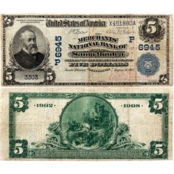 $5 1902 DB. The Merchants' National Bank of Santa Monica. Charter #6945. Very Good/Fine., CA - Santa