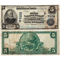 $5 1902 PB. The First National Bank of Sonora. Charter #7202P. Very Good, Stained., CA - Sonora,