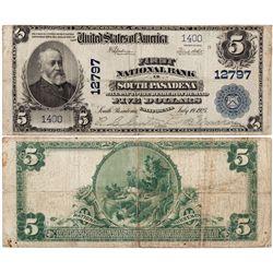 $5 1902 First National Bank. Charter #12797. Fine., CA - South Pasadena,