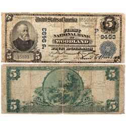 $5 1902 The First National Bank. Charter #9493. Good/Very Good., CA - Woodland,