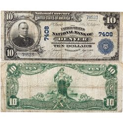 $10 1902 PB The United States National Bank. Charter #7408. Fine., CO - Denver,