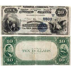 $10 1882 Fort Collins National Bank. Charter #5503. Very Good/Fine., CO - Fort Collins,