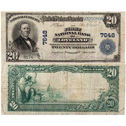 $20 1902 The First National Bank of Loveland. Charter #7648. Fine/Very Fine., CO - Loveland,