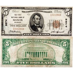 $5 1929 The First National Bank of Mancos. Charter # 9674. Fine., CO - Mancos,