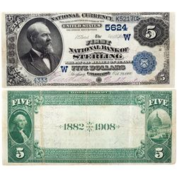 $5 1882 DB The First National Bank. Charter # 5624. Very Fine+, CO - Sterling,