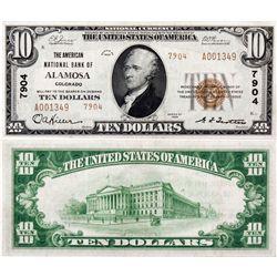 $10 1929 T-2. The American National Bank of Alamosa. Charter #7904. Very Fine., CO - Alamosa,