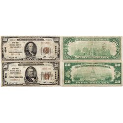 Set of 2 Notes from Bishop First National Bank of Hawaii.  Charter #5550., HI - Honolulu,