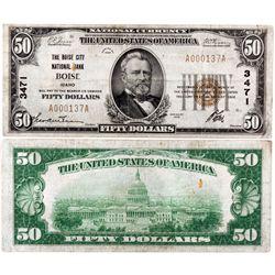 $50 1929 T The Boise City National Bank. Charter #3471. Fine., ID - Boise,