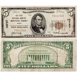 $5 1929 The First National Bank. Charter #10727. Fine., ID - Bonners Ferry,
