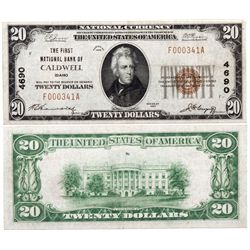 $20 1929 The First National Bank of Caldwell. Charter # 46.9. Fine/Very Fine., ID - Caldwell,