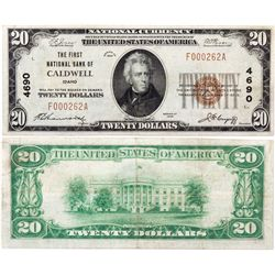 $20 1929 The First National Bank. Charter #4690. Fine/Very Fine., ID - Caldwell,