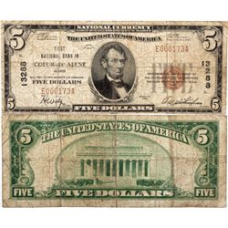 $5 1929 T1. First National Bank. Charter # 13288. Good/Very Good., ID - Coeur D' Alene,