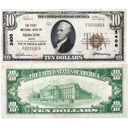 $10 1929 T The First National Bank. Charter # 3408. PMG25 Very Fine., ID - Moscow,