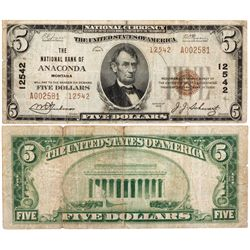 $5 1929 The National Bank. Charter #12542. Fine., MT - Anaconda,