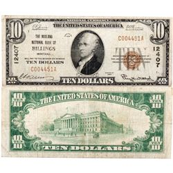 $10 1929 The Midland National Bank of Billings. Charter # 12407. Fine/Very Fine., MT - Billings,