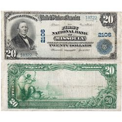 $20 1902 PB. The First National Bank. Charter #2106. Fine., MT - Missoula,