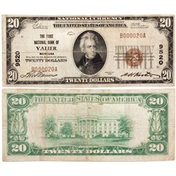 $20 1929 T1. The First National Bank. Charter #9520. Fine., MT - Valier,