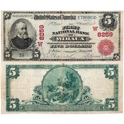 $5 1902 The First National Bank. Charter #8259. Very Good., MT - Wibaux,