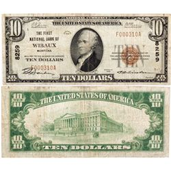 $10 1929 T1. The First National Bank. Charter #8259. Fine., MT - Wibaux,