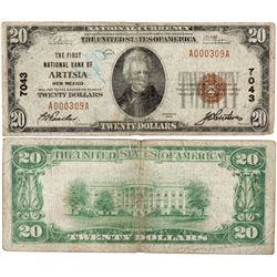 $20 1929 T The First National Bank. Charter #7043. Very Good/Grafitti., NM - Artesia,
