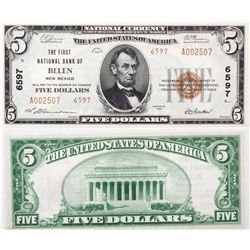 $5 1929 T2. The First National Bank. Charter # 6597. Uncirculated 64., NM - Belen,
