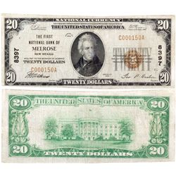 $20 1929 The First National Bank. Charter #8397. Fine., NM - Melrose,