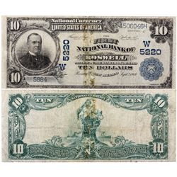 $10 1902 The First National Bank. Charter #5220. Very Good, repaired, tear., NM - Roswell,