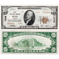 $10 1929 First National Bank. Charter #7038. Very Fine., NV - Reno,