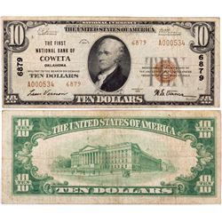 $10 1929 T2 The First National Bank. Charter #6879. Fine., OK - Coweta,